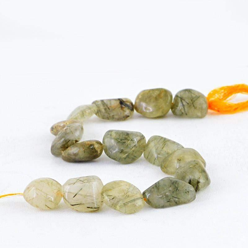 gemsmore:Natural Black Rutile Quartz Beads Strand