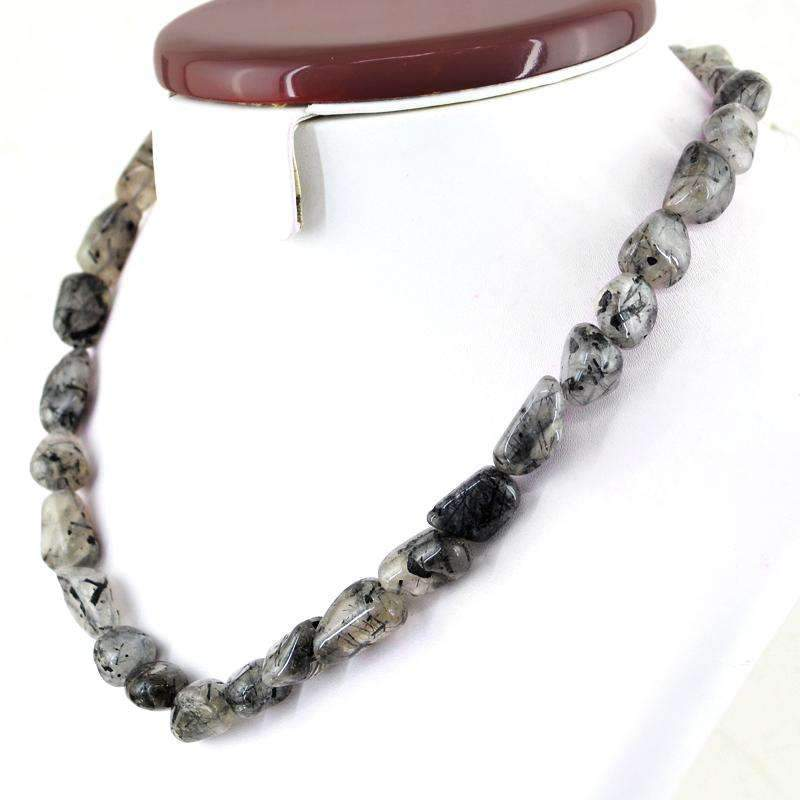 gemsmore:Natural Black Rutile Quartz Necklace 20 Inches Long Untreated Genuine Beads