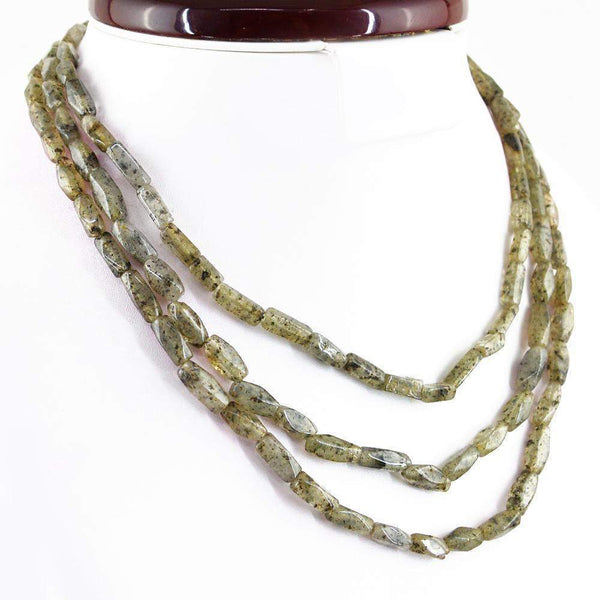 gemsmore:Natural Black Rutile Quartz Necklace 3 Strand Faceted Beads