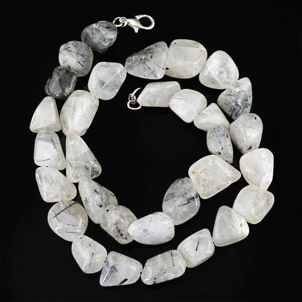 gemsmore:Natural Black Rutile Quartz Necklace Single Strand Untreated Beads
