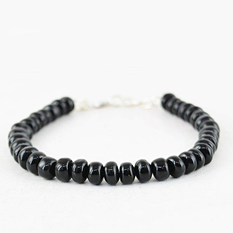gemsmore:Natural Black Spinel Bracelet Round Shape Beads