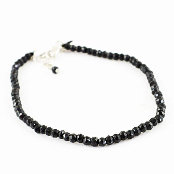 gemsmore:Natural Black Spinel Bracelet Round Shape Faceted Beads