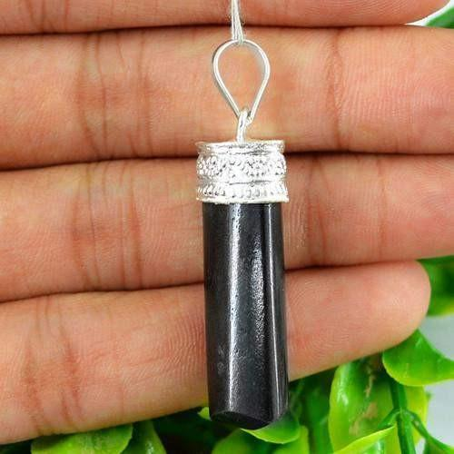 gemsmore:Natural Black Spinel Healing Point Penadnt