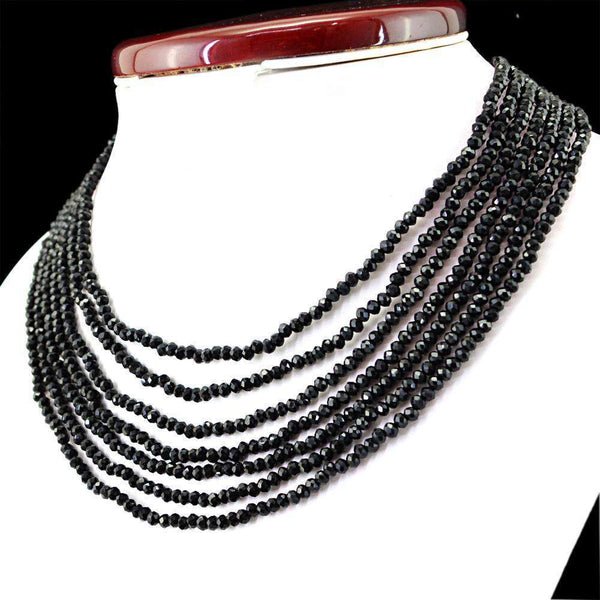 gemsmore:Natural Black Spinel Necklace 7 Strand FacetedRound Shape Beads