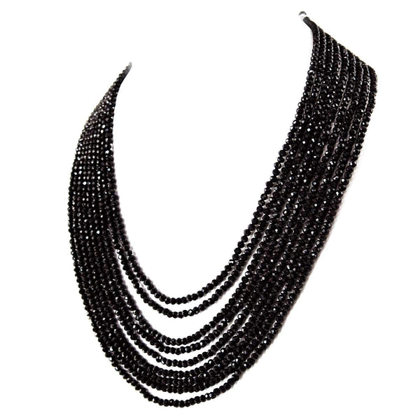 gemsmore:Natural Black Spinel Necklace 9 Strand Untreated Round Cut Beads