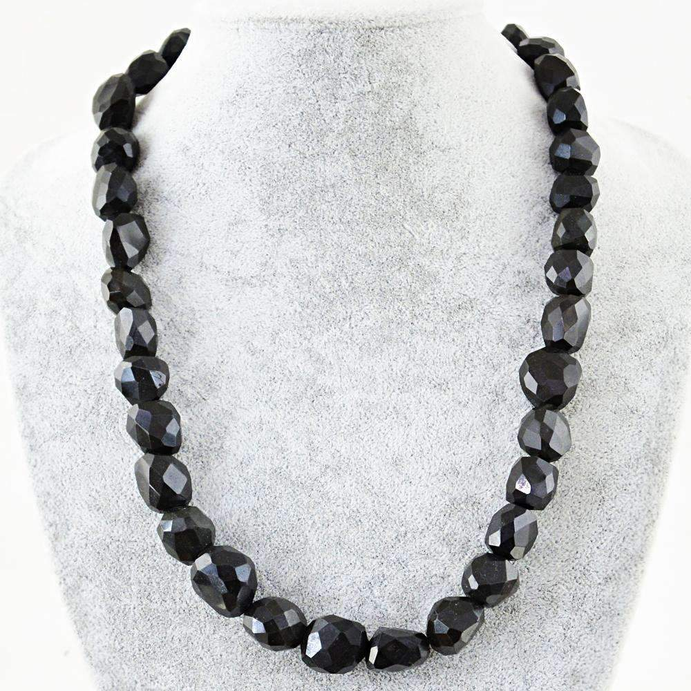 gemsmore:Natural Black Spinel Necklace Untreated Faceted Beads