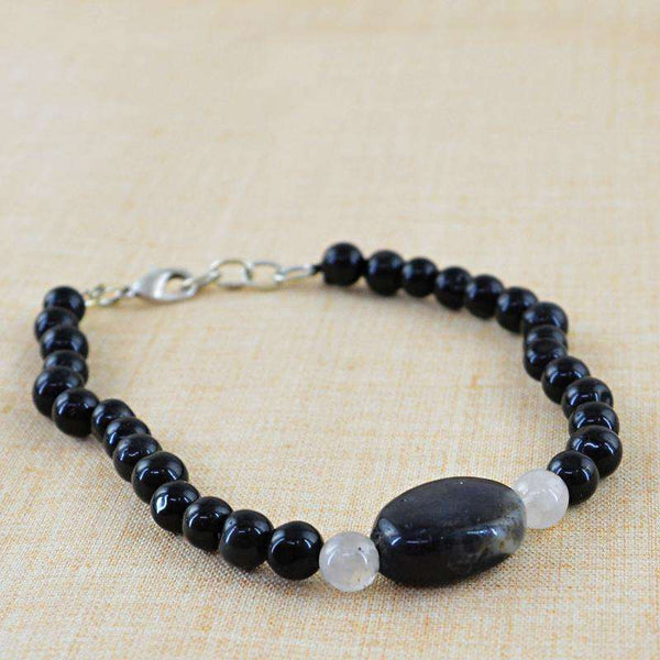 gemsmore:Natural Black Spinel & White Quartz Beads Bracelet - Round Shape