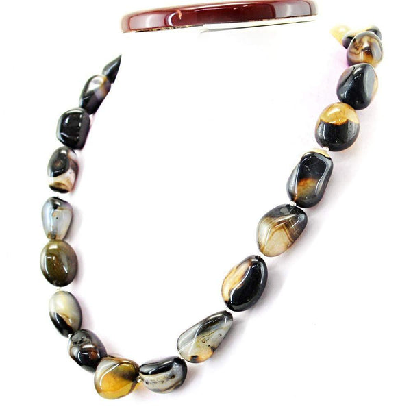 gemsmore:Natural Black & White Onyx Necklace Single Strand Untreated Beads