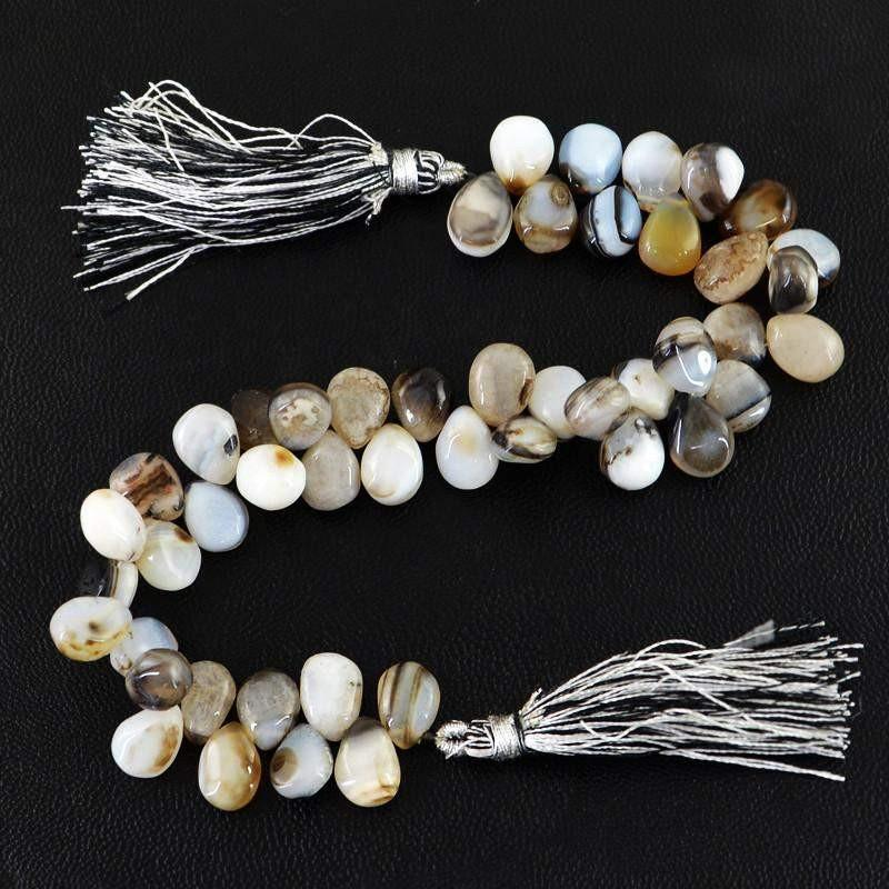 gemsmore:Natural Black & White Onyx Tear Drop Beads Strand