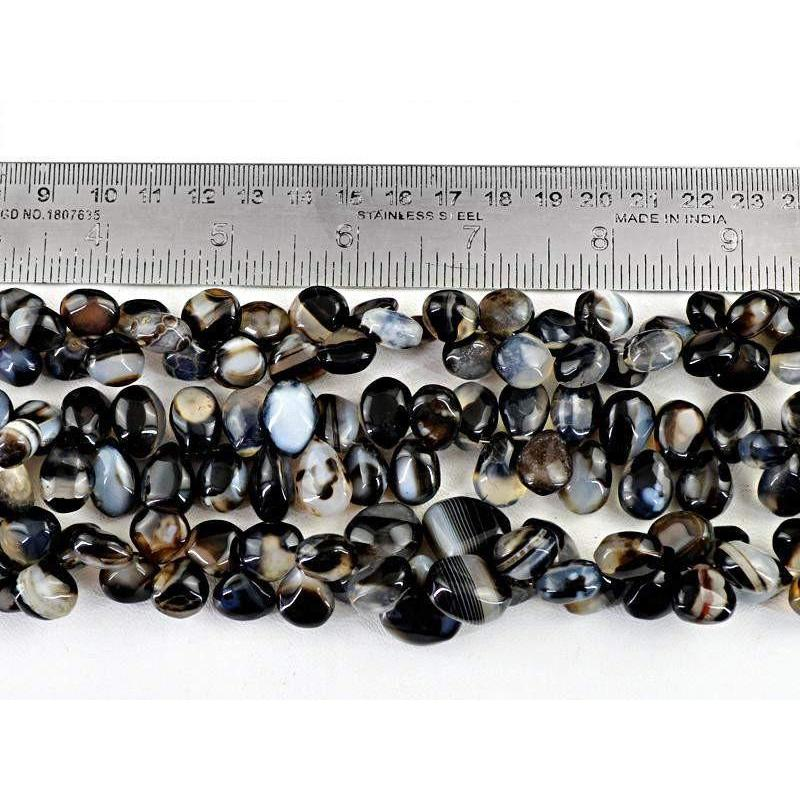 gemsmore:Natural Black & White Onyx Unheated Beads Strands Lot