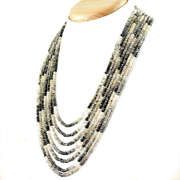 gemsmore:Natural Black & White Rutile Quartz Necklace Faceted Beads - 7 Line