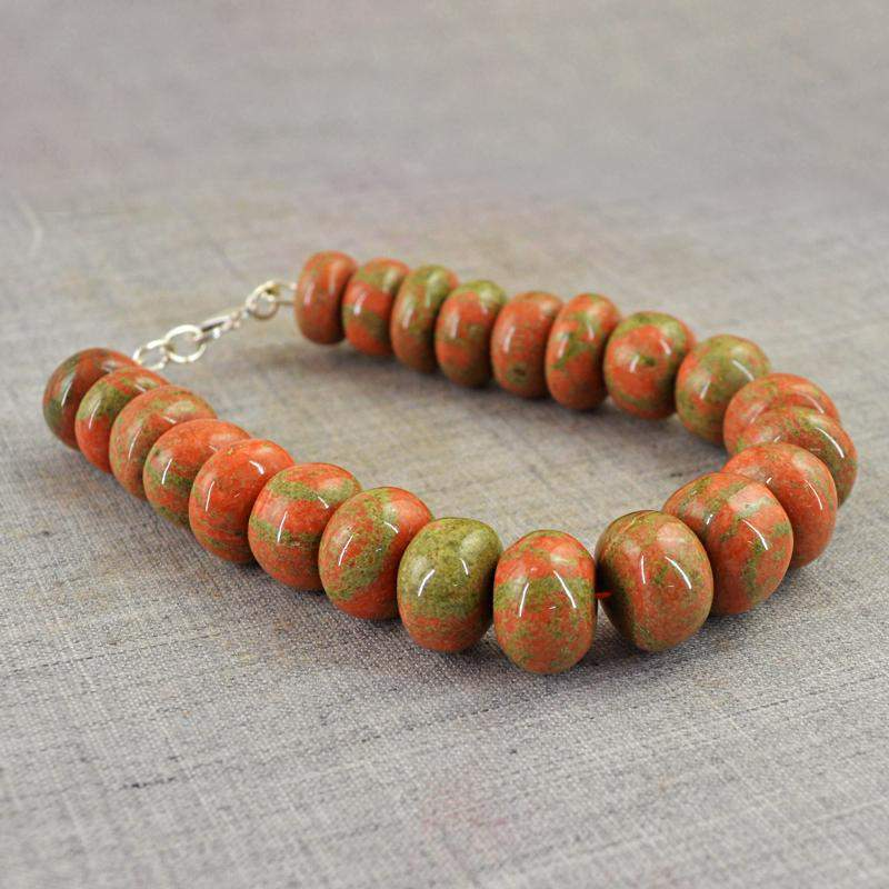 gemsmore:Natural Blood Green Unakite Bracelet Round Shape Untreated Beads