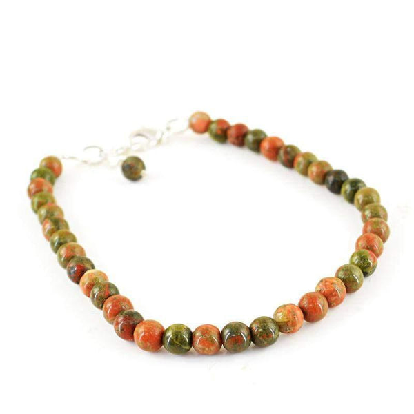 gemsmore:Natural Blood Green Unakite Round Shape Untreated Beads