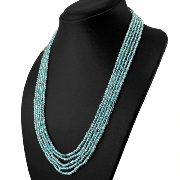 gemsmore:Natural Blue Apatite Necklace Round Shape Beads - 5 Strand