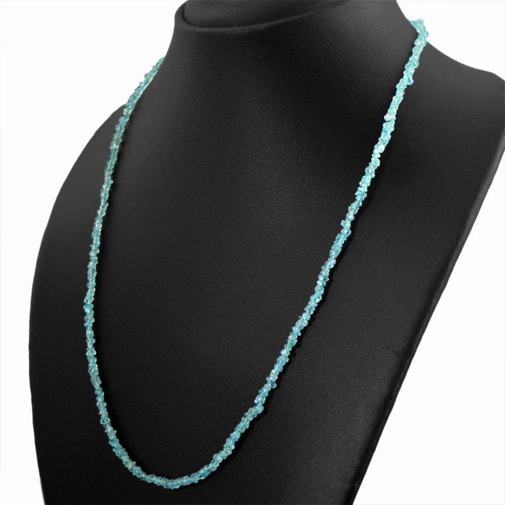 gemsmore:Natural Blue Apatite Necklace Untreated Faceted Beads