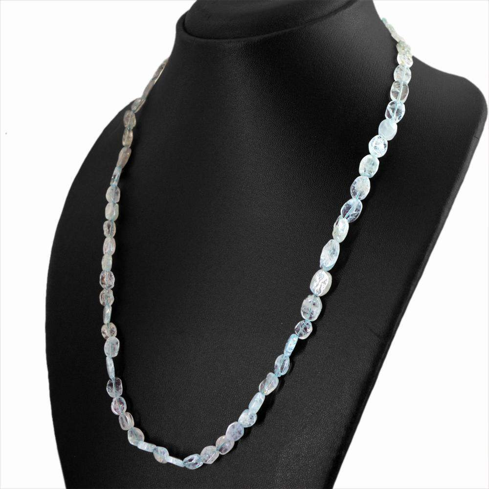 gemsmore:Natural Blue Aquamarine Necklace Oval Shape Untreated Beads