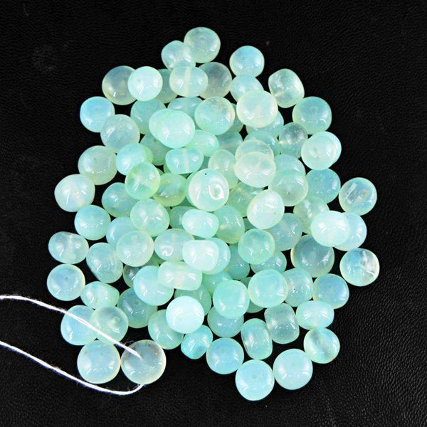 gemsmore:Natural Blue Chalcedony Beads Lot Round Shape Drilled