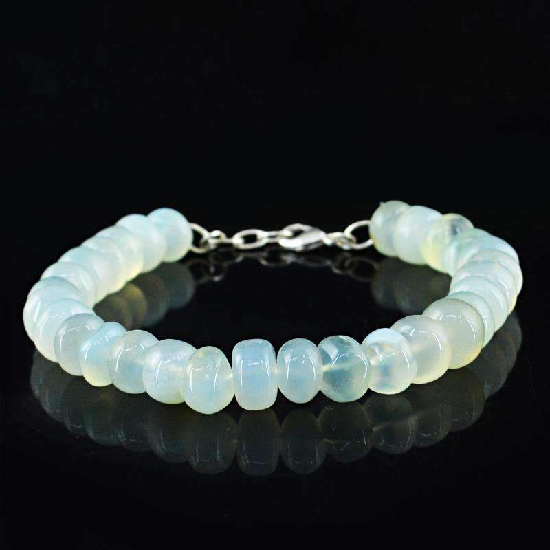 gemsmore:Natural Blue Chalcedony Bracelet Round Shape Beads