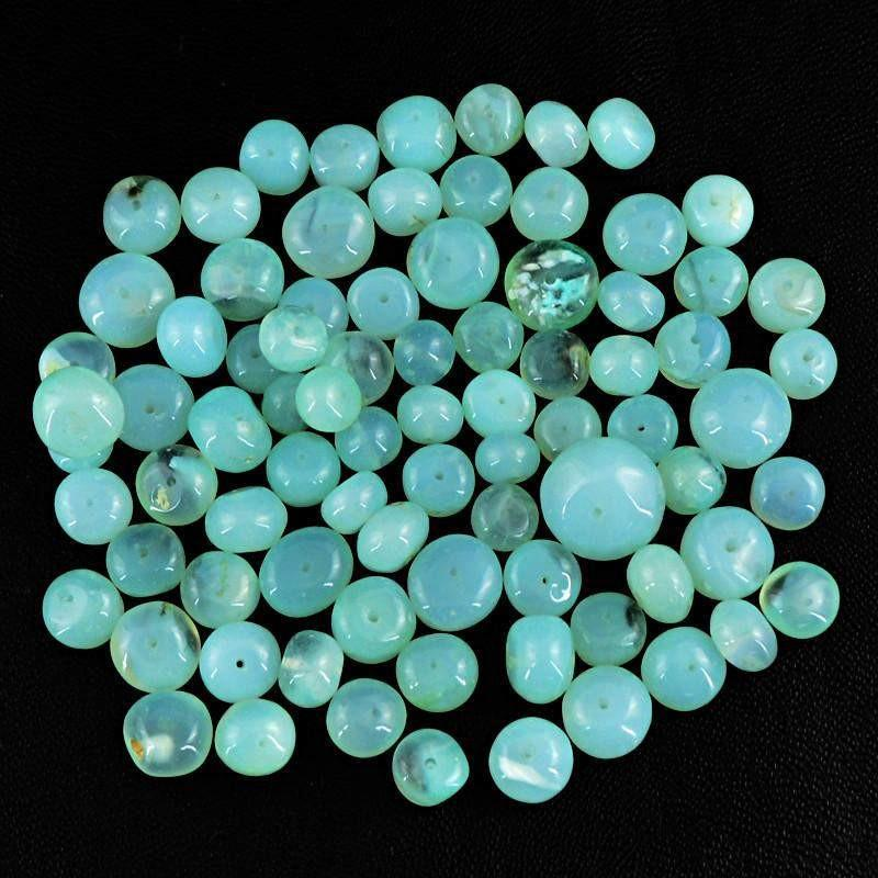 gemsmore:Natural Blue Chalcedony Drilled Beads Lot