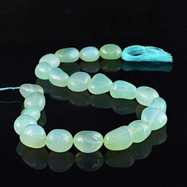 gemsmore:Natural Blue Chalcedony Drilled Beads Strand