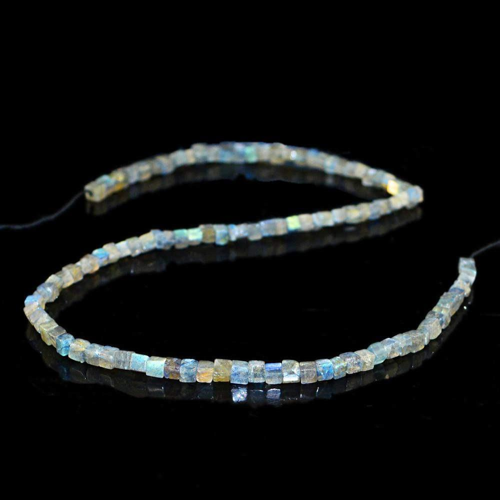 gemsmore:Natural Blue Color Flash Labradorite Beads Strand