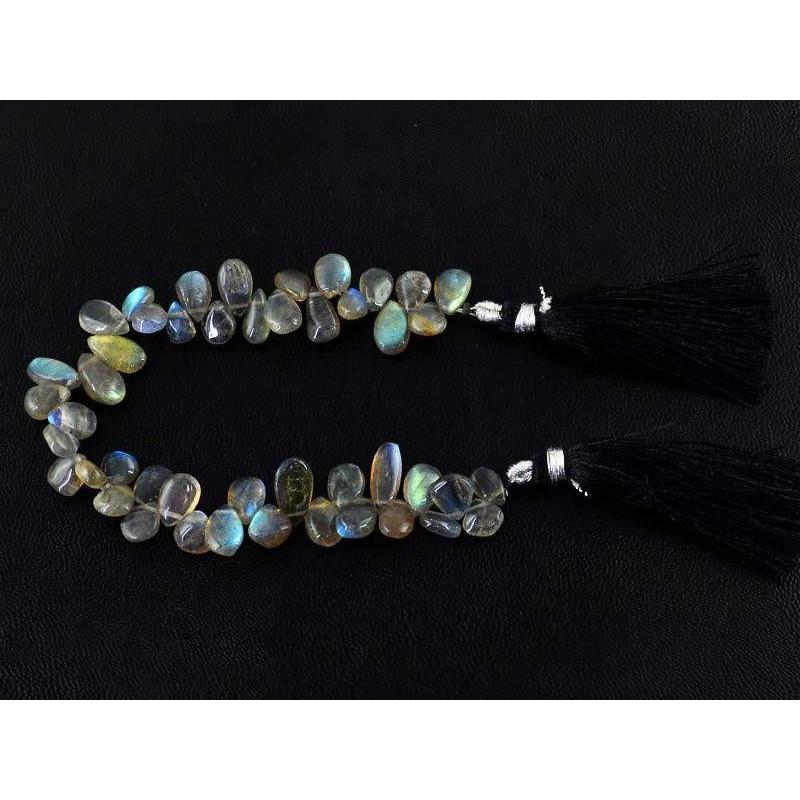 gemsmore:Natural Blue Color Flash Labradorite Pear Shape Beads Strand
