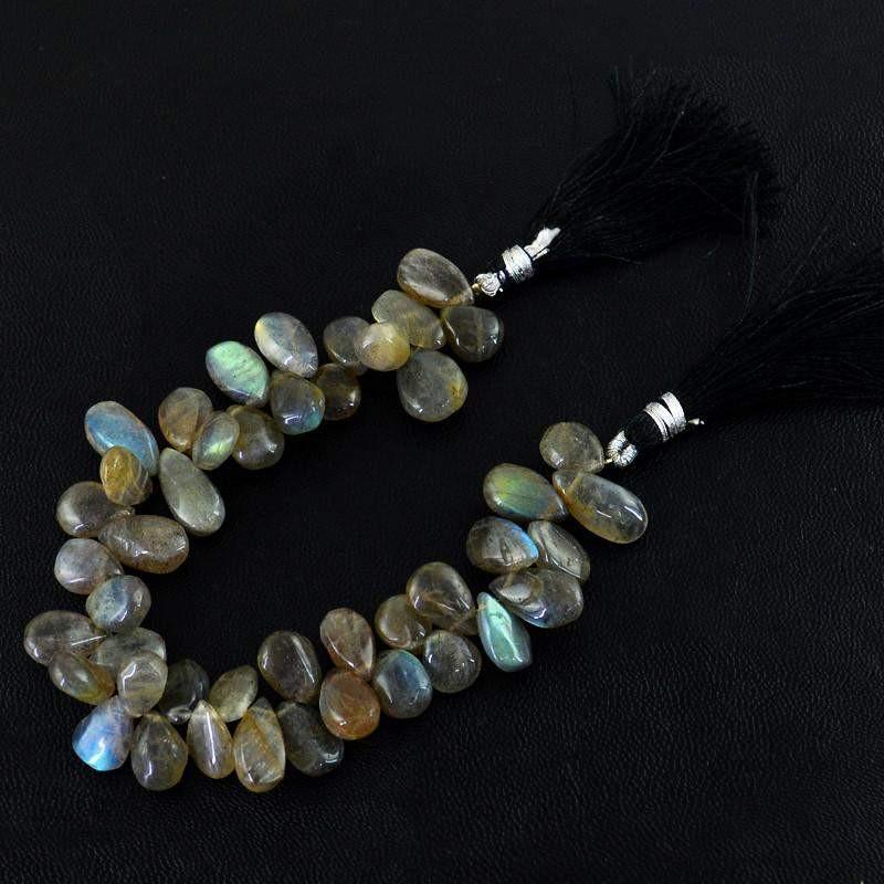 gemsmore:Natural Blue Color Flash Labradorite Unheated Drilled Beads Strand