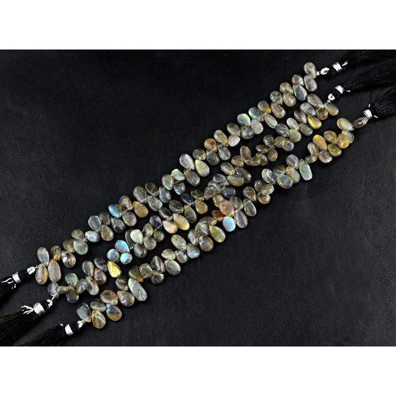 gemsmore:Natural Blue Color Flash Labradorite Untreated Beads Strands Lot