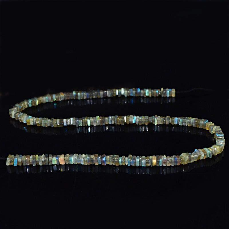 gemsmore:Natural Blue Flash Color Labradorite Beads Strand