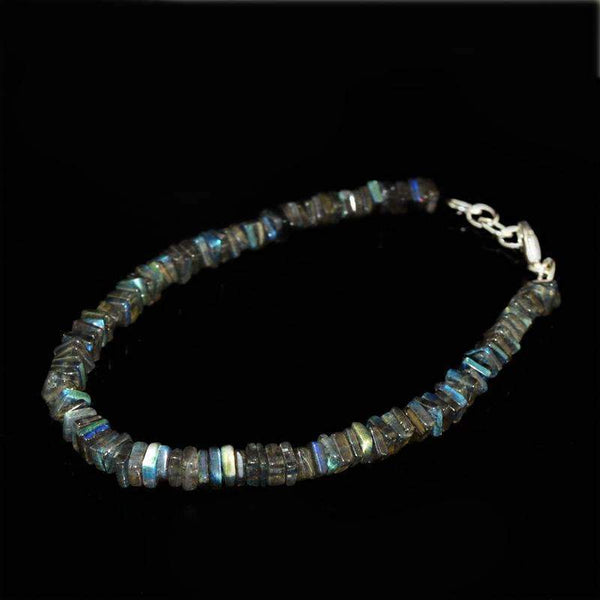 gemsmore:Natural Blue Flash Labradorite Beads Bracelet