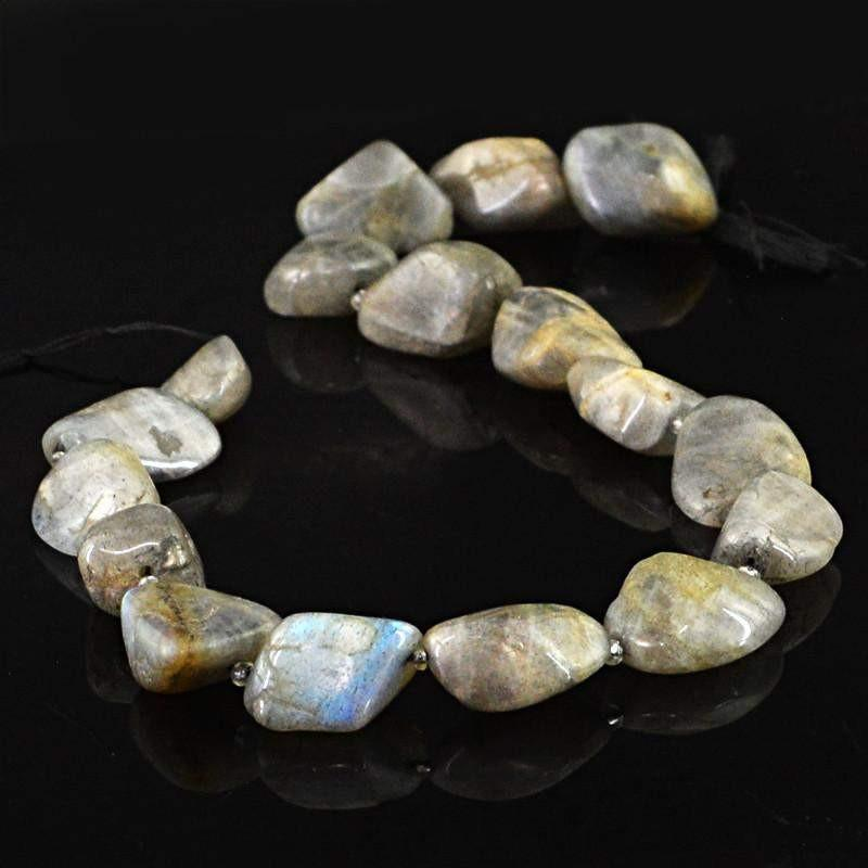 gemsmore:Natural Blue Flash Labradorite Beads Strand