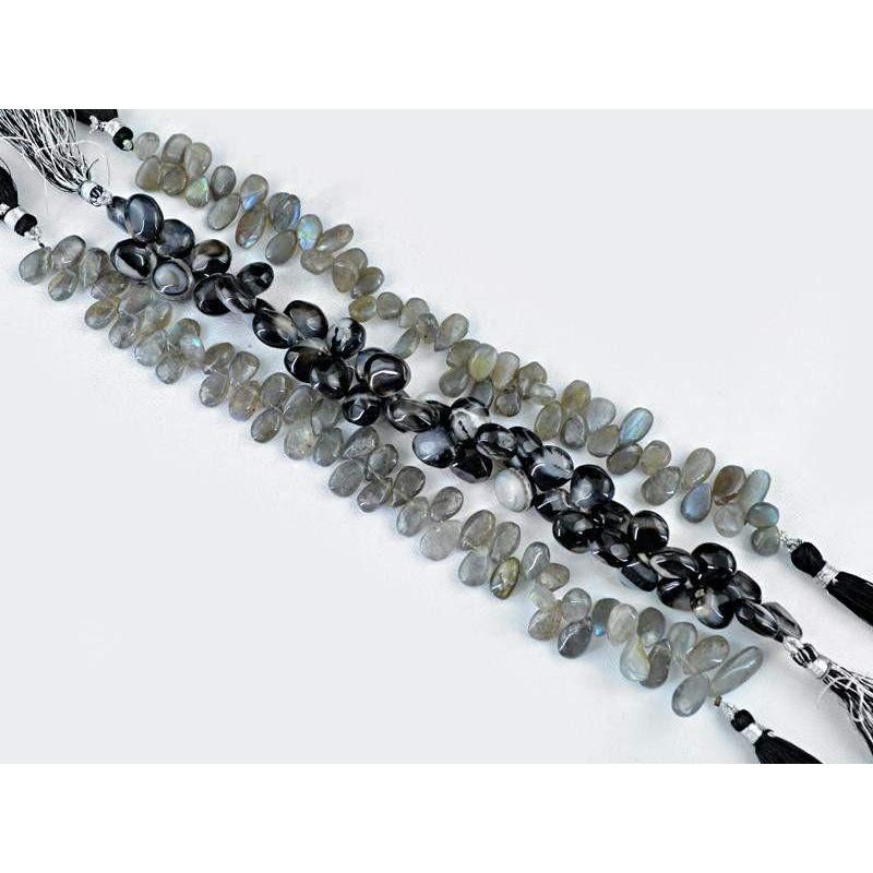 gemsmore:Natural Blue Flash Labradorite & Black Onyx Beads Strands