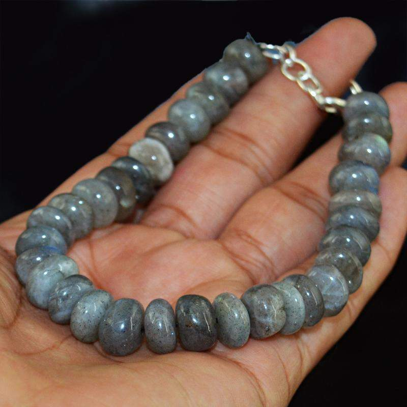 gemsmore:Natural Blue Flash Labradorite Bracelet - Round Shape Beads