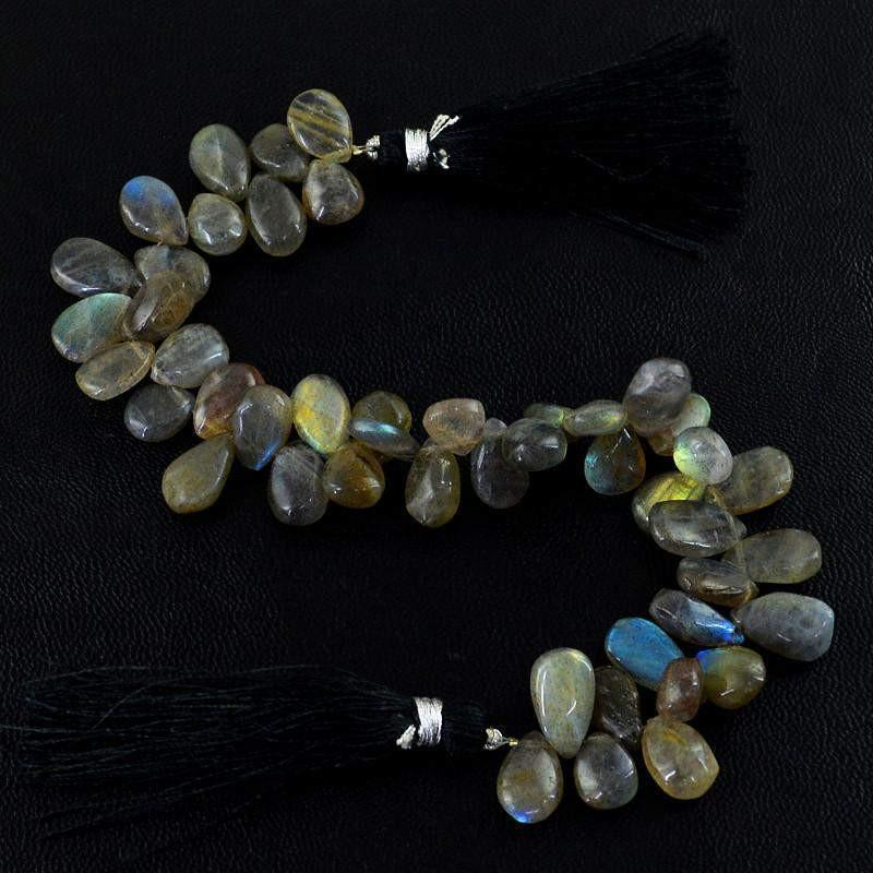 gemsmore:Natural Blue Flash Labradorite Drilled Beads Strand