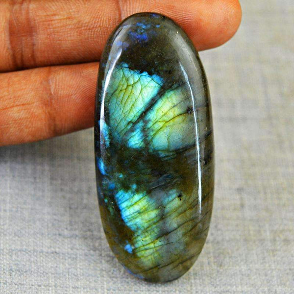 gemsmore:Natural Blue Flash Labradorite Gemstone - Oval Shape