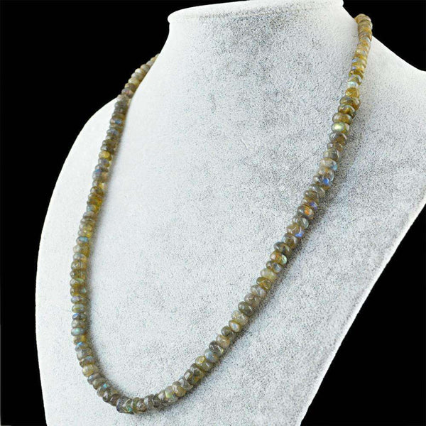 gemsmore:Natural Blue Flash Labradorite Necklace 20 Inches Long Round Shape Beads