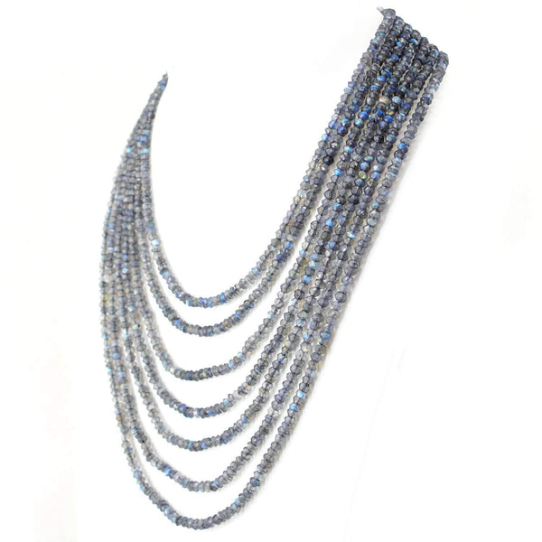 gemsmore:Natural Blue Flash Labradorite Necklace 7 Strand Round Cut Beads