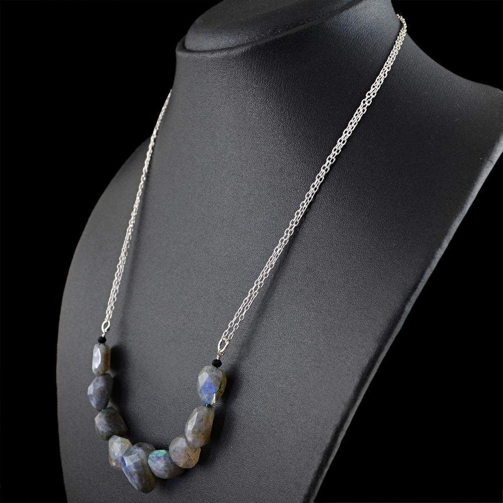 gemsmore:Natural Blue Flash Labradorite Necklace Faceted Beads