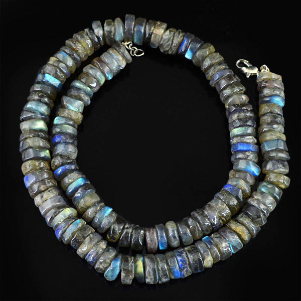 gemsmore:Natural Blue Flash Labradorite Necklace Round Shape Untreated Beads
