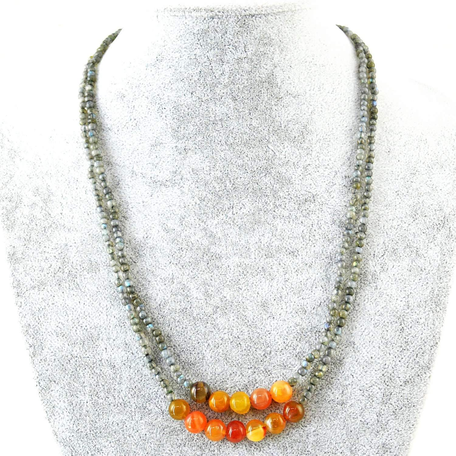 gemsmore:Natural Blue Flash Labradorite & Orange Onyx Necklace 2 Strand Untreated Beads