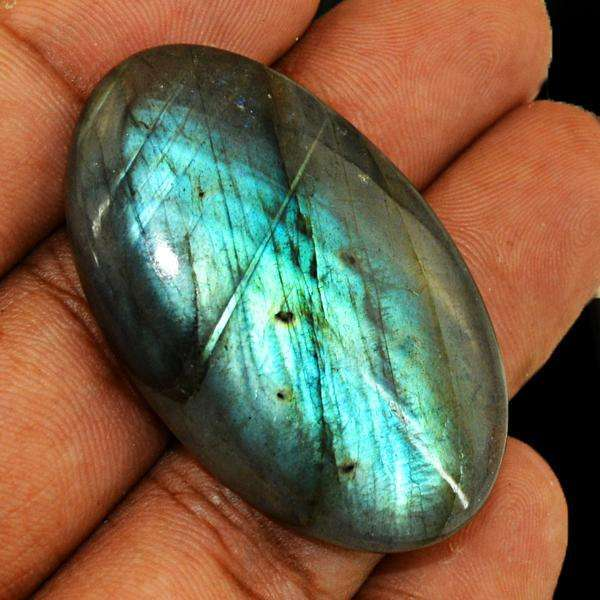 gemsmore:Natural Blue Flash Labradorite Oval Shape Untreated Loose Gemstone