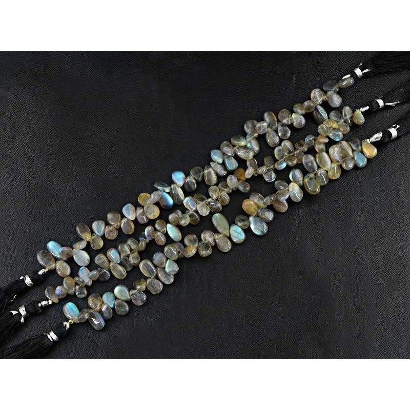 gemsmore:Natural Blue Flash Labradorite Pear Beads Strands