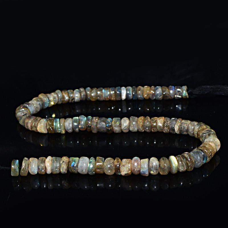 gemsmore:Natural Blue Flash Labradorite Round Beads Strand