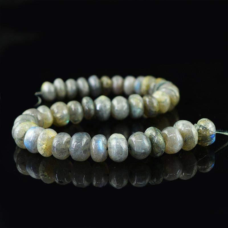 gemsmore:Natural Blue Flash Labradorite Round Shape Beads Strand