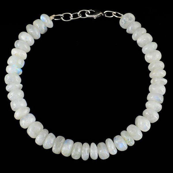 gemsmore:Natural Blue Flash Moonstone Beads Bracelet - Round Shape