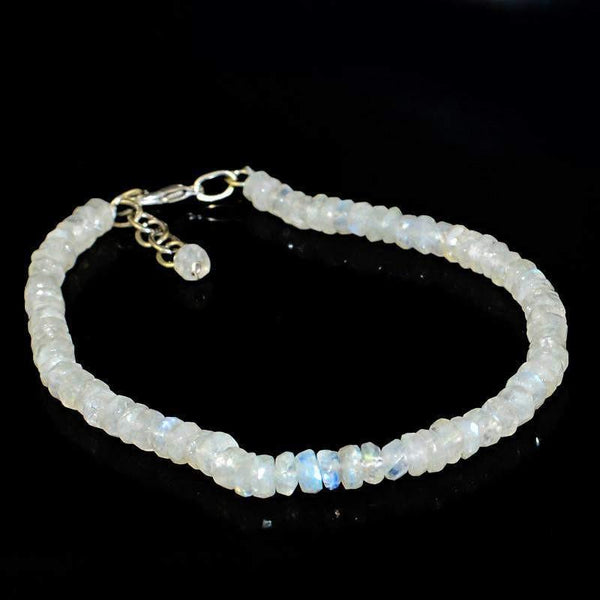 gemsmore:Natural Blue Flash Moonstone Bracelet Faceted Round Shape Beads