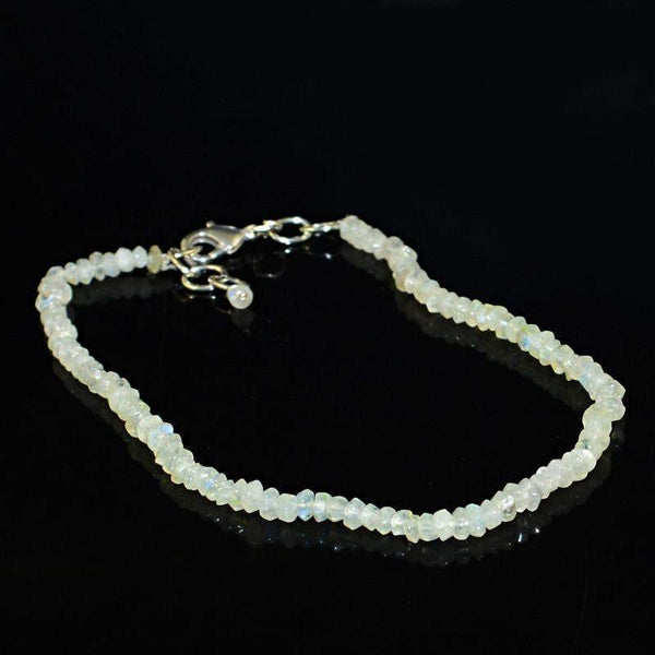 gemsmore:Natural Blue Flash Moonstone Bracelet Round Shape Faceted Beads