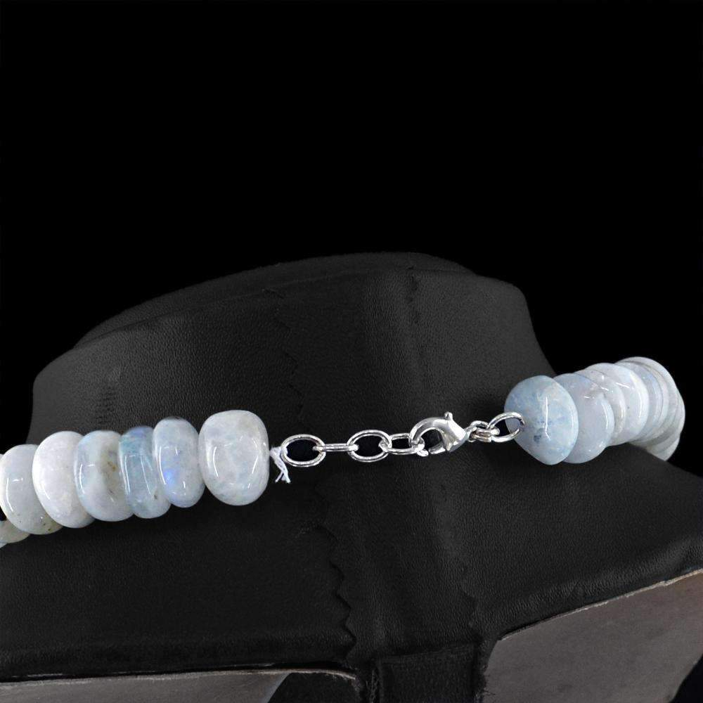 gemsmore:Natural Blue Flash Moonstone Necklace 20 Inches Long Unheated Round Beads