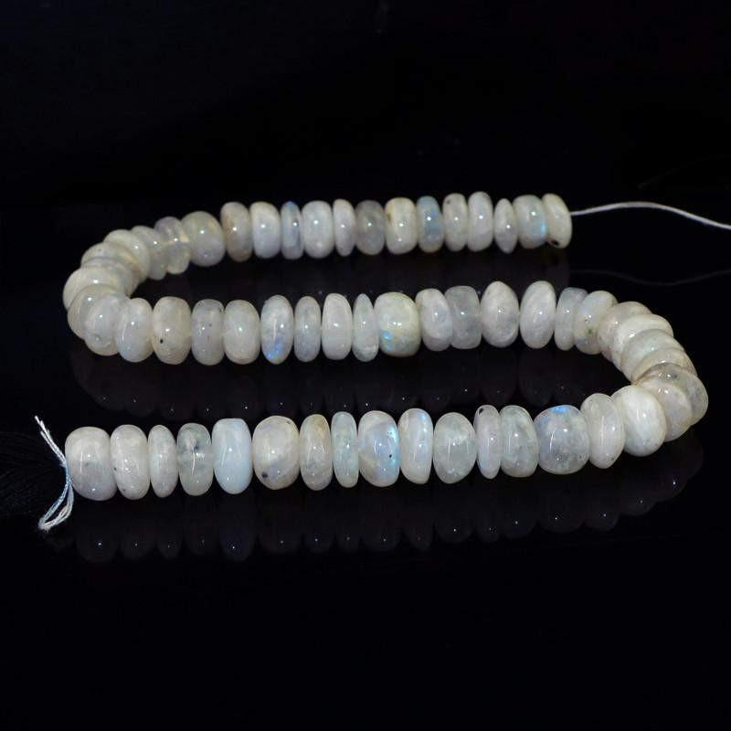 gemsmore:Natural Blue Flash Moonstone Untreated Beads Strand