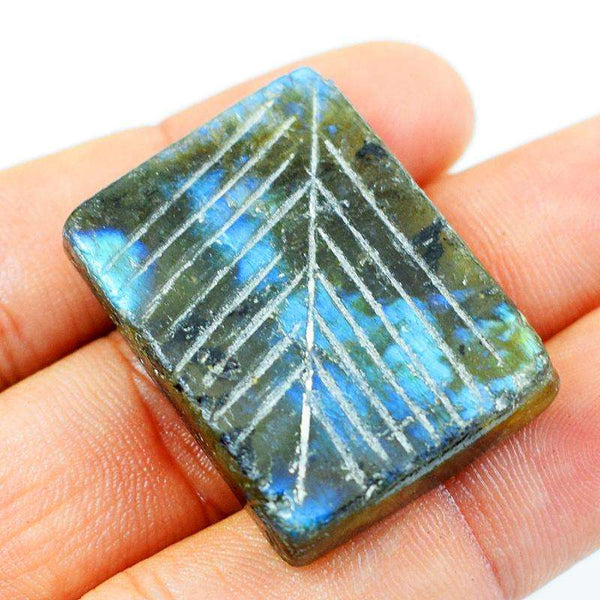 gemsmore:Natural Blue Flash Rectangular Shape Labradorite Loose Gemstone
